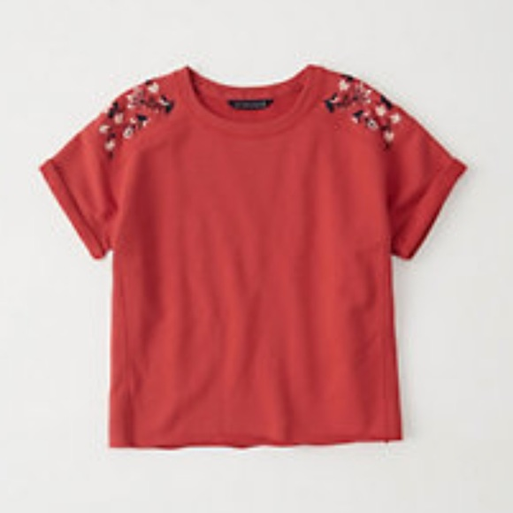 Abercrombie & Fitch Tops - Abercrombie & Fitch Embroidered Crew Sweatshirt